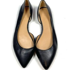 J.Crew 6.5 Black Leather D'Orsay Flats Shoes